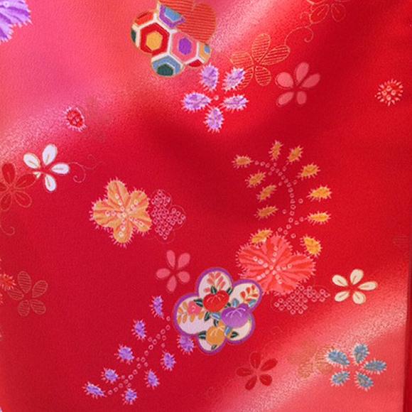 着物 七五三 レンタル フルセット 七五三衣裳 女児 3才 被布 赤地 辻が花 【送料往復880円】HI0018