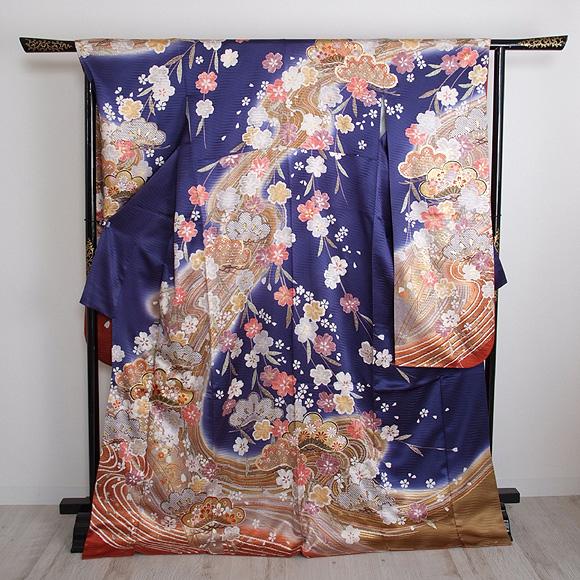 格安!振袖レンタル 成人式 ブルー 桜【送料無料】【試着可能】51029