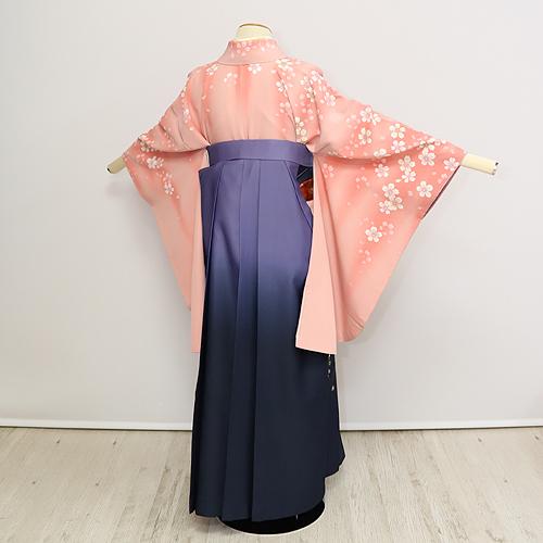 格安!袴レンタル 成人式 卒業式  ピンク肩に桜 ししゅう紫袴 【送料無料】 st10