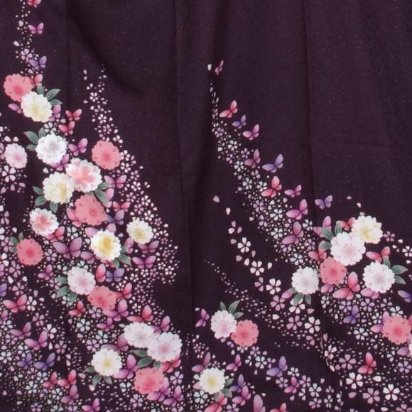 格安!振袖レンタル 成人式  濃紫に花 【送料無料】【試着可能】51134