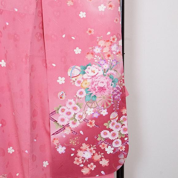 格安!振袖レンタル 成人式  ピンク藤の花車 【送料無料】【試着可能】51135