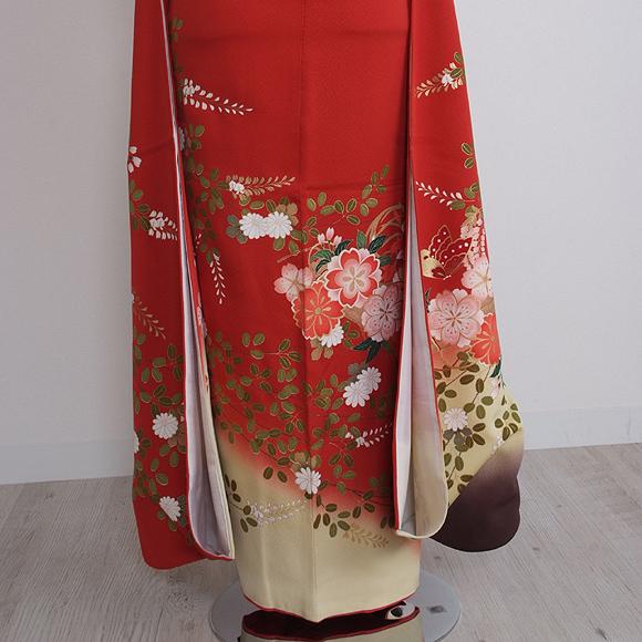 格安!振袖レンタル 成人式 赤地花と蝶  【送料無料】【試着可能】 51080