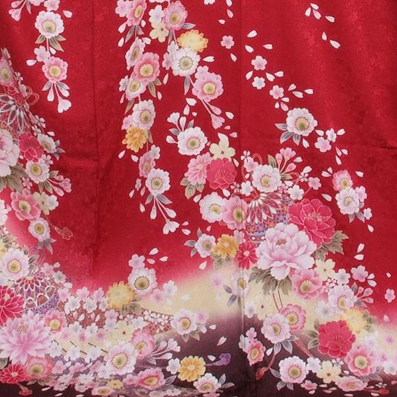 格安!振袖レンタル (2〜11月) 卒業式 結婚式 など  赤地裾濃い茶 LL 【送料無料】【試着可能】51157