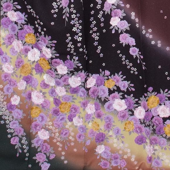 格安!振袖レンタル 成人式  黒地紫の花 【送料無料】【試着可能】51138