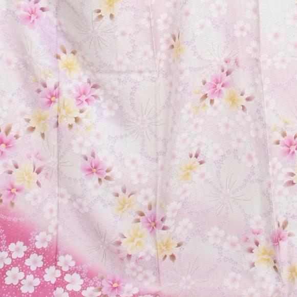 格安!振袖レンタル 成人式  白地ピンクのぼかし 【送料無料】【試着可能】51101