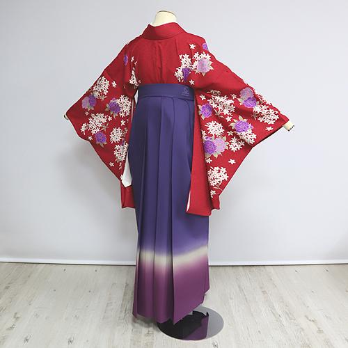 格安!袴レンタル 成人式 卒業式 赤花柄に3色紫の袴LL 【送料無料】 st15