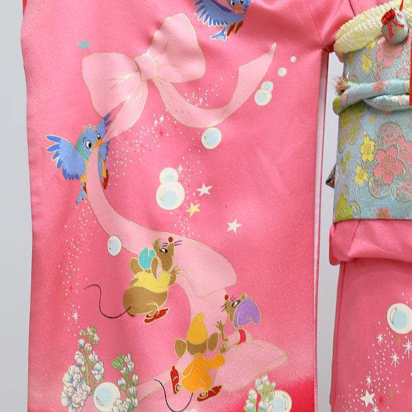 格安!着物・七五三レンタル 7歳女児 ディズニー ピンク シンデレラ 【送料往復880円】2004-28
