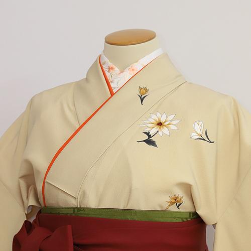 格安!袴レンタル 成人式 卒業式 ベージュコスモス着物にエンジコスモス袴 【送料無料】 st09