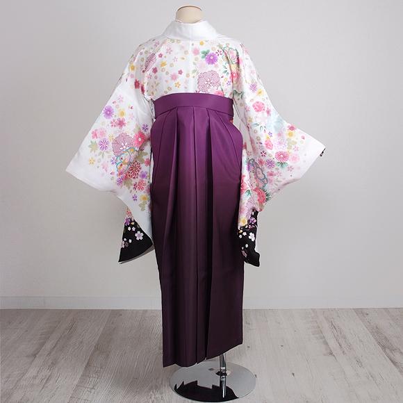 格安!袴レンタル 成人式 卒業式 白地撫子/紫グラデ花束 2.3 【送料無料】 st29