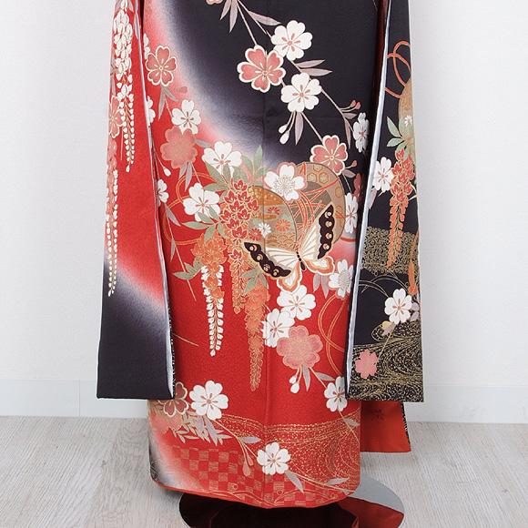 格安!振袖レンタル 成人式 ブラック 赤色 鼓 蝶【送料無料】【試着可能】51049