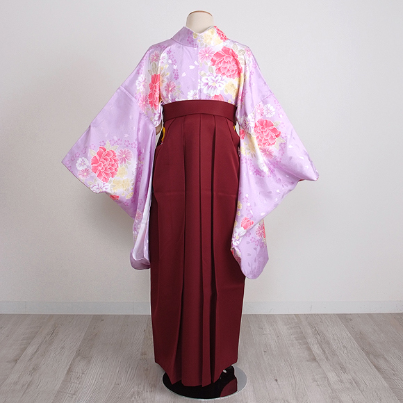 格安!袴レンタル 成人式 卒業式 紫牡丹/エンジ桜  2.6 【送料無料】 st30
