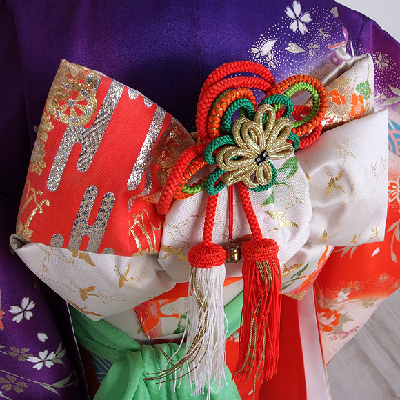 格安!着物・七五三レンタル 3歳女児 赤/紺 桜 【送料往復880円】2003-05