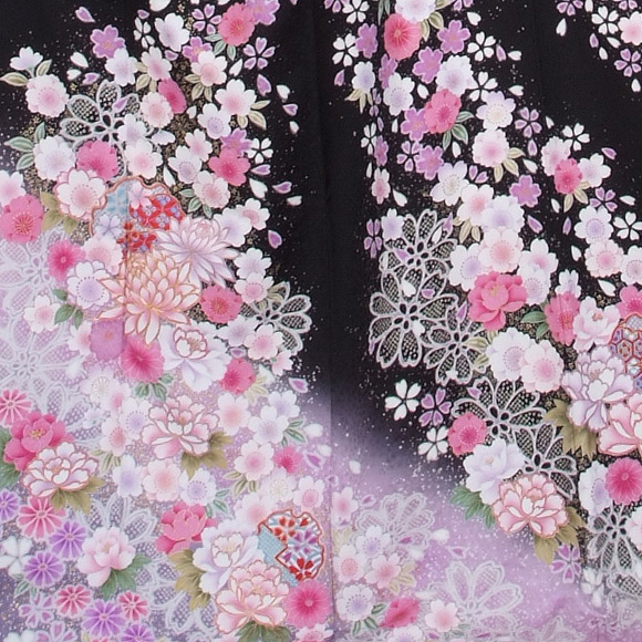 格安!振袖レンタル 成人式  黒地すそぼかしの花 【送料無料】【試着可能】51143