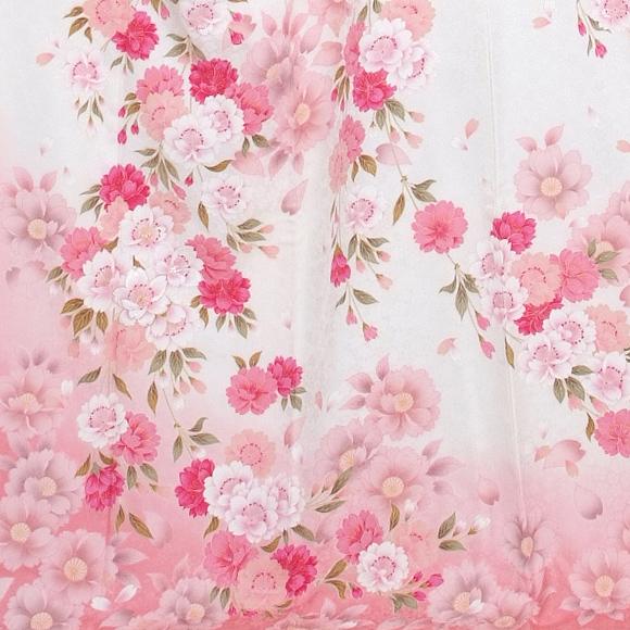 格安!振袖レンタル 成人式  白 淡ピンクに花 【送料無料】【試着可能】51146
