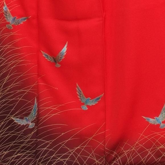 格安!振袖レンタル(2〜11月) 卒業式 結婚式 赤色 鶴【送料無料】【試着可能】51063
