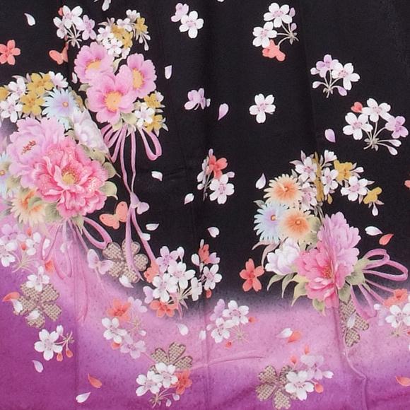 格安!振袖レンタル 成人式  黒 紫 花束 【送料無料】【試着可能】51147