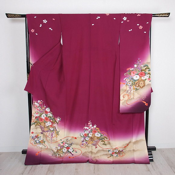 格安!振袖レンタル(2〜11月) 卒業式 結婚式 紫色 花車【送料無料】【試着可能】51064