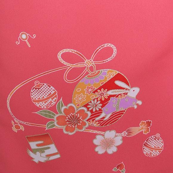 格安!着物・七五三レンタル 3歳女児 ピンク 鈴とウサギ 【送料往復880円】2003-08