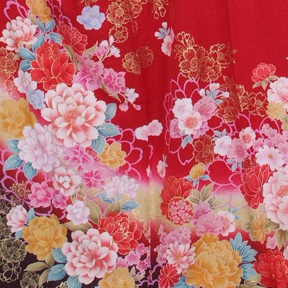 格安!振袖レンタル(2〜11月) 卒業式 結婚式 など  赤ラメ色とりどりの花 L 【送料無料】【試着可能】51168