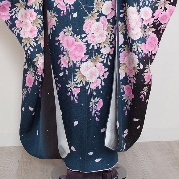 格安!振袖レンタル 成人式  ナンドブルーにピンクの花 【送料無料】【試着可能】51154