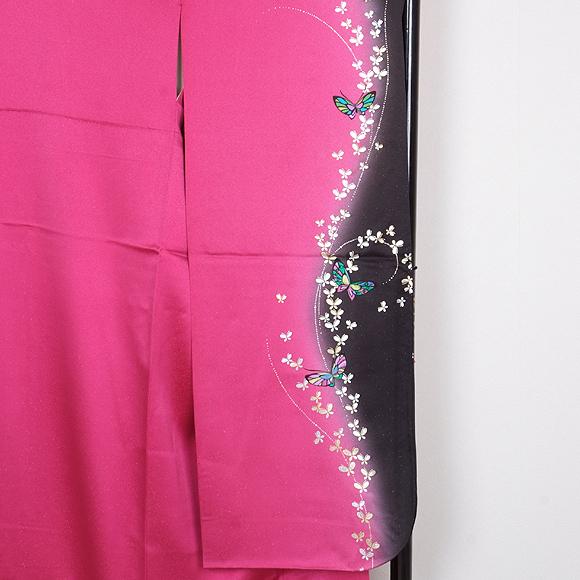 格安!振袖レンタル 成人式 ピンク 黒色 蝶【送料無料】【試着可能】51057