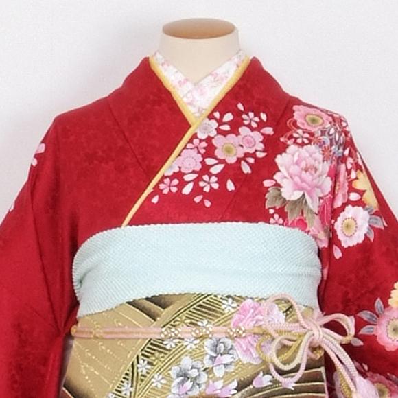 格安!振袖レンタル 成人式  赤地裾濃い茶 LL 【送料無料】【試着可能】51157