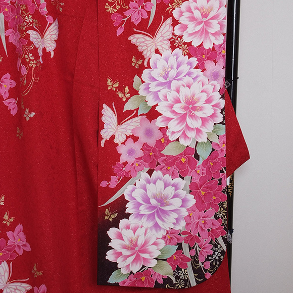 格安!振袖レンタル (2〜11月) 卒業式 結婚式 など  赤地ピンクの牡丹 L 【送料無料】【試着可能】51171