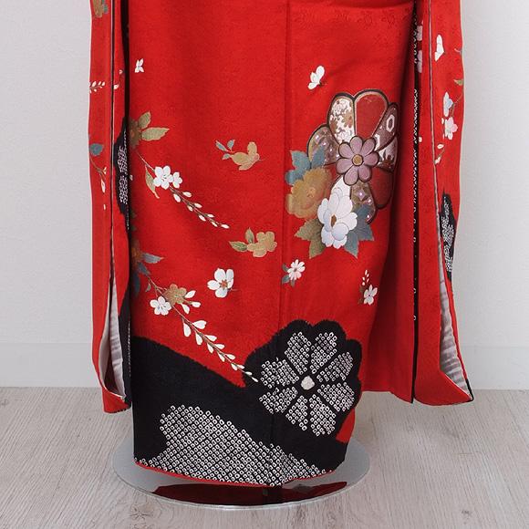 格安!振袖レンタル(2〜11月) 卒業式 結婚式 赤色 絞り調花柄【送料無料】【試着可能】51071