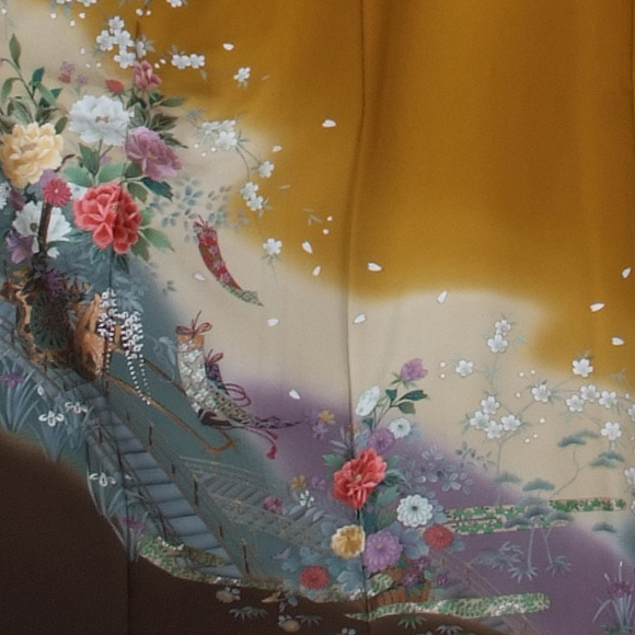 格安!振袖レンタル(2〜11月) 卒業式 結婚式 カラシ色 御所車【送料無料】【試着可能】51074