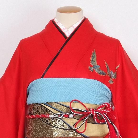 格安!振袖レンタル 成人式 赤色 鶴【送料無料】【試着可能】51063