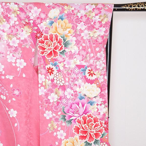 格安!振袖レンタル 成人式  ピンクに花ラメ入り 【送料無料】【試着可能】51160