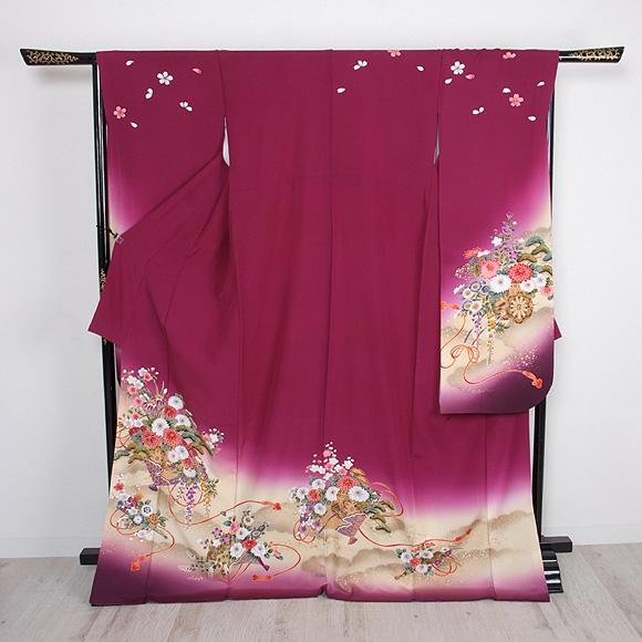 格安!振袖レンタル 成人式 紫色 花車【送料無料】【試着可能】51064