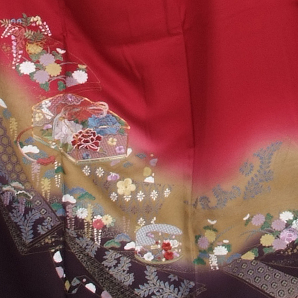 格安!振袖レンタル(2〜11月) 卒業式 結婚式 赤色 小花 文箱【送料無料】【試着可能】51078