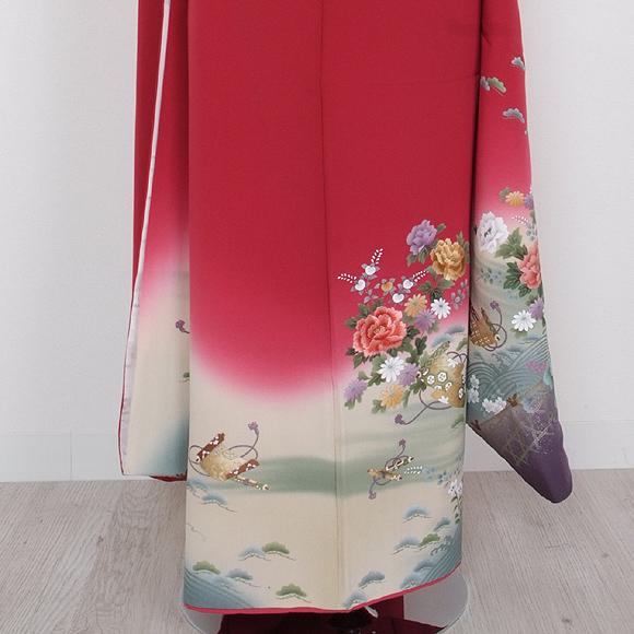 格安!振袖レンタル(2〜11月) 卒業式 結婚式 赤色 ローズ【送料無料】【試着可能】51079