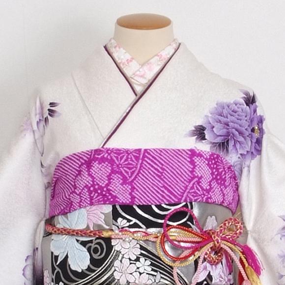 格安!振袖レンタル 成人式  白地紫にクリスタル 【送料無料】【試着可能】51153