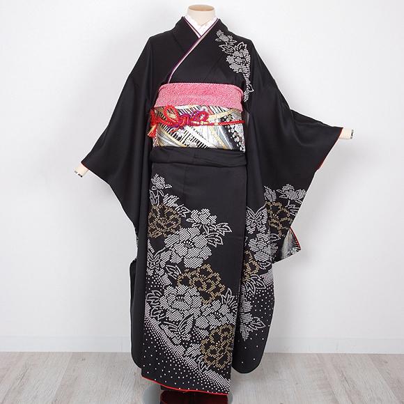 格安!振袖レンタル 成人式 ブラック 牡丹 蝶【送料無料】【試着可能】51070