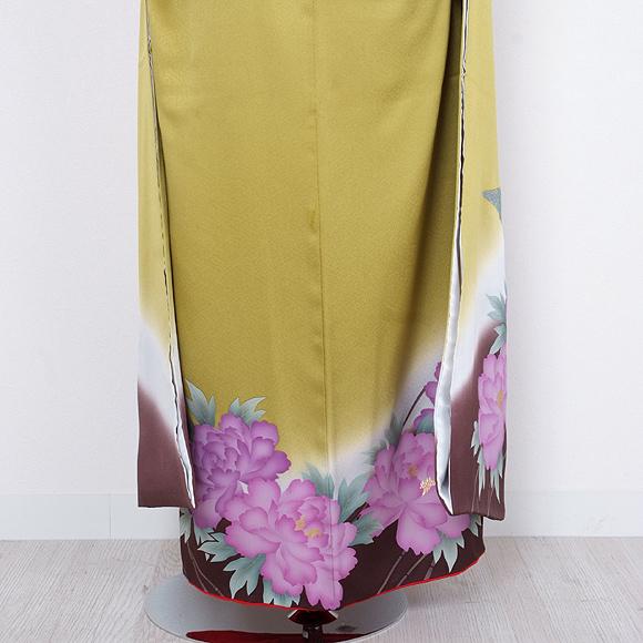 格安!振袖レンタル(2〜11月) 卒業式 結婚式 黄緑 牡丹【送料無料】【試着可能】51082