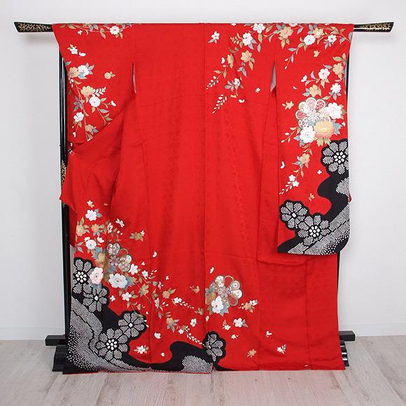 格安!振袖レンタル 成人式 赤色 絞り調花柄【送料無料】【試着可能】51071