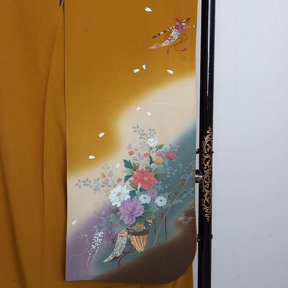 格安!振袖レンタル 成人式 カラシ色 御所車【送料無料】【試着可能】51074