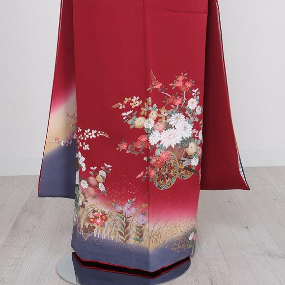 格安!振袖レンタル(2〜11月) 卒業式 結婚式 赤色 錦【送料無料】【試着可能】51087