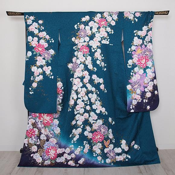 格安!振袖レンタル 成人式  ナンドブルーにピンクの花 L 【送料無料】【試着可能】51169