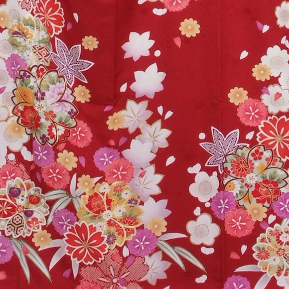 格安!振袖レンタル (2〜11月) 卒業式 結婚式 など  赤地 花 【送料無料】【試着可能】51183