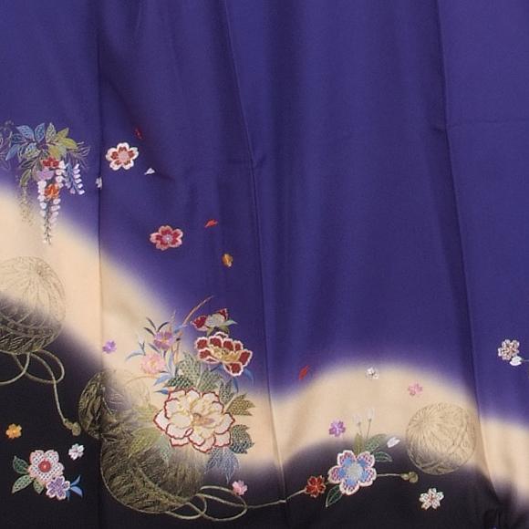 格安!振袖レンタル(2〜11月) 卒業式 結婚式 ブルー 鞠【送料無料】【試着可能】51088