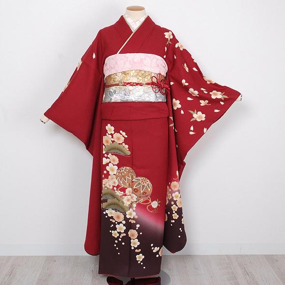 格安!振袖レンタル(2〜11月) 卒業式 結婚式 赤色 手毬【送料無料】【試着可能】51090
