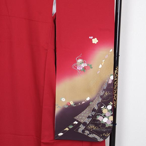 格安!振袖レンタル 成人式 赤色 小花 文箱【送料無料】【試着可能】51078