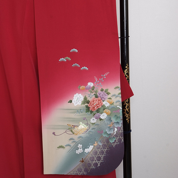 格安!振袖レンタル 成人式 赤色 ローズ【送料無料】【試着可能】51079