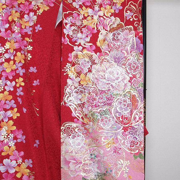 格安!振袖レンタル (2〜11月) 卒業式 結婚式 など  赤とピンクのぼかしに金銀箔 【送料無料】【試着可能】51187