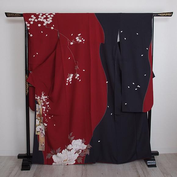 格安!振袖レンタル 成人式 ブラック 赤色 牡丹【送料無料】【試着可能】51084