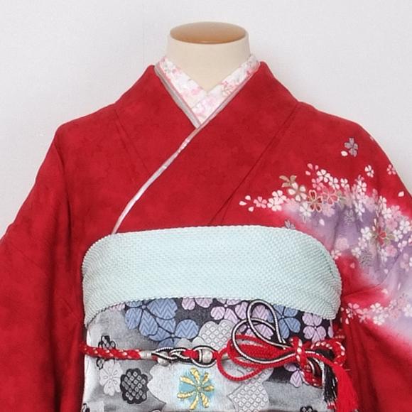 格安!振袖レンタル(2〜11月) 卒業式 結婚式 赤色 桜【送料無料】【試着可能】51096