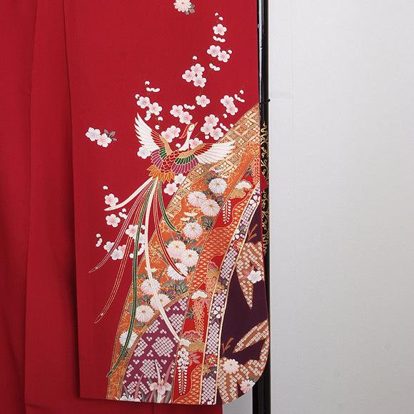 格安!振袖レンタル 成人式 赤色 扇 四季花々【送料無料】【試着可能】51086